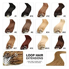 Fabwigs Micro Loop Ring Human Extensions – 18 20 22 Inch 12 Colors 50g Set – Silky Straight Loop Weft Human Remy Hair (18 Inch #12 Golden Brown)