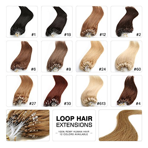 Fabwigs Micro Loop Ring Human Extensions - 18 20 22 Inch 12 Colors 50g Set - Silky Straight Loop Weft Human Remy Hair (18 Inch #613 Bleached (Straight Loop)
