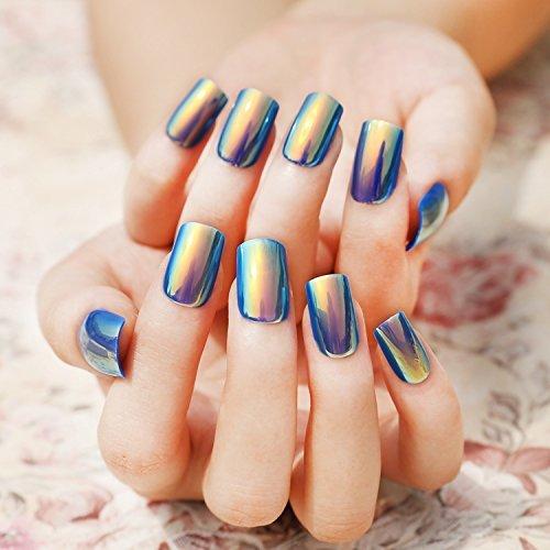 24pcs Fashion Style Symphony Shell Color Blue Metal Shine Bent Lady Artificial False Nail Tips Z089