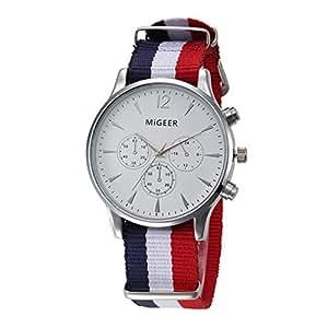 Casual Relojes Mujer Relojes Hombre Relojes de Cuarzo Correa de Nylon Pequeños Dial Decorativo Relojes de Hombres Relojes de Mujer, Blanco-Azul Blanco Rojo