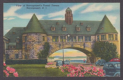 View of Narragansett's Famed Towers Narragansett RI postcard 1930s