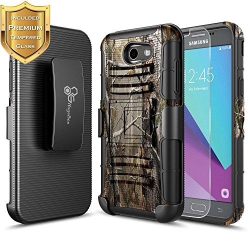 Galaxy J3 Luna Pro Holster Case, J3 Prime/J3 Eclipse/J3 Emerge/Amp Prime 2/Express Prime 2/J3 Mission w/[Tempered Glass Screen Protector] NageBee Heavy Duty Belt Clip Case for Samsung J3 2017 -Camo