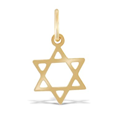 Jewelco London Ladies 9ct Yellow Gold Star of David Charm Pendant