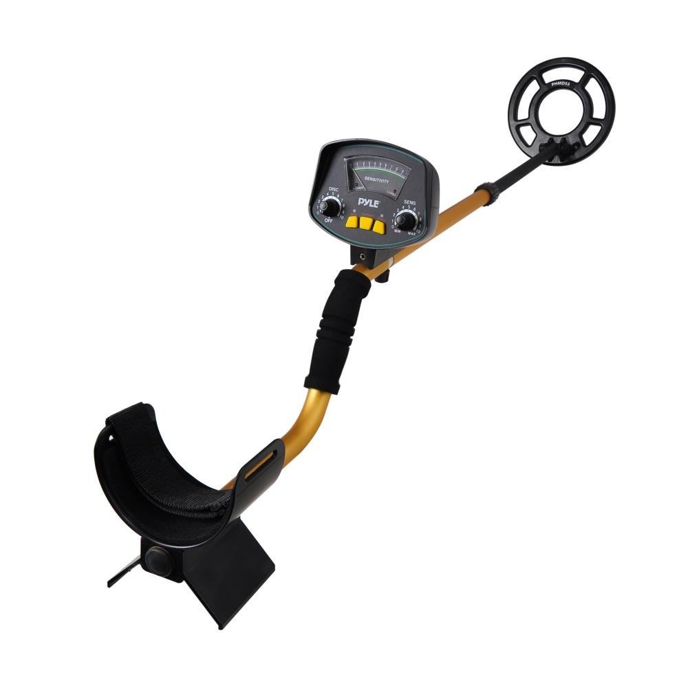 Pyle, PHMD53, Metalldetektor für Schatzsuche mit wasserdichter, untertauchbaren Suchspule, 10-Stufen-Unterscheidung, eingebaute Lautsprecher und Kopfhörer-Ausgang PYLE-SPORT