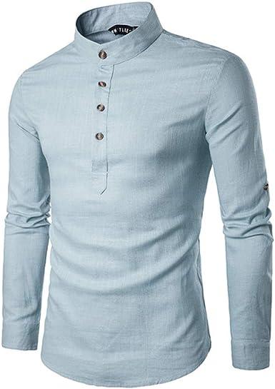 HOSD 2020 Camisa Casual para Hombres Camisas de Cuello mandarín de Manga Larga Camisa de Estilo Chino Tradicional de Color sólido Mezcla de algodón Tallas Grandes: Amazon.es: Ropa y accesorios