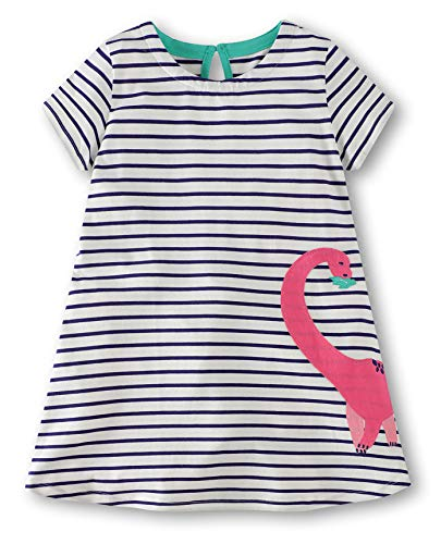 Fiream Grils Cotton Striped Dresses Shortsleeve Dinosaur Appliques T-Shirt Casual Dresses(6001tz,5T/5-6YRS)