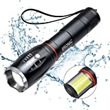 LED Tactical Flashlight, Brionac Waterproof Powerful Flashlight with COB Work Light and Magnet, Super Bright Ideal for Camping Hiking Emergency Uses (Batteries Not Included)