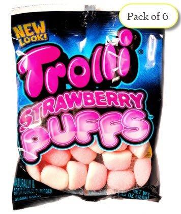 - Trolli STRAWBERRY PUFFS, Sugar Coated Marshmallow Gummies, 4.25 oz Bag (Pack of 6)