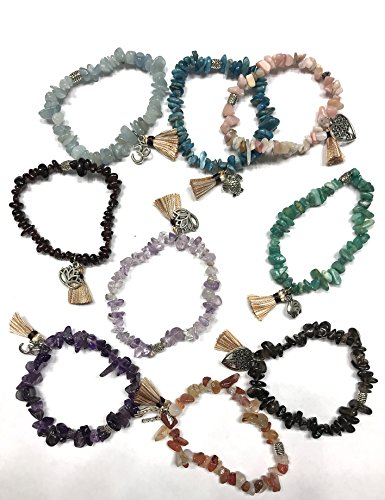 Set of 3 Stretch Bracelets With Tassel Charm and Choice of
