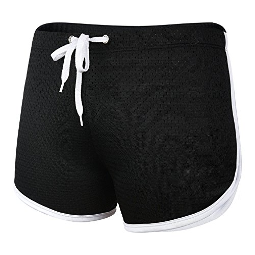 Ouber Men's Fitted Workout Gym Lifting Running Mesh Shorts (A-Black,M)