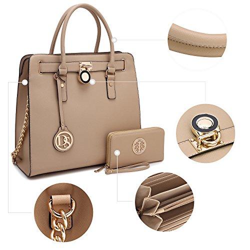 beige Womens Padlock Fashion Bag Designer 2553w Handbag Belted Shoulder Top Satchel Structured wPHwqC