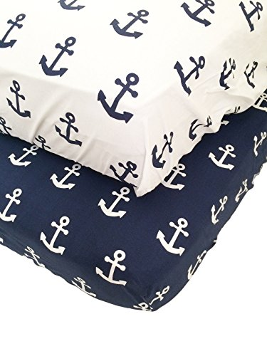 Danha Premium Fitted Cotton Crib Sheet With Anchor Print – Standard Crib Mattress Size – Toddler, Kids Bedding – Nautical Nursery Décor Theme – Ideal Baby Shower Gift For Infant Boys Or Girls