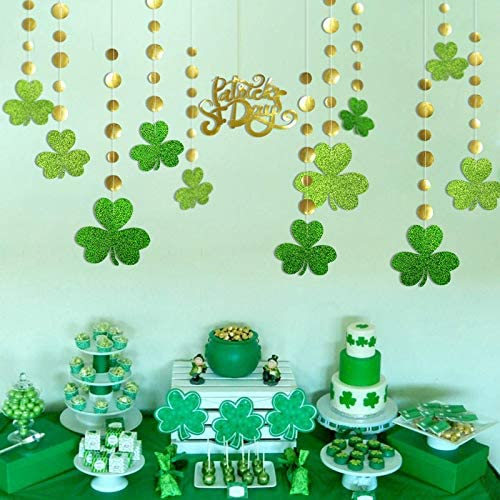 Cheerland Glitter Green Shamrock Clover Garland Shiny Gold St Patricks Day Decorations Spring Party Streamer Banner Backdrop Irish Wedding Birthday Baby Shower Parties Hanging Decors