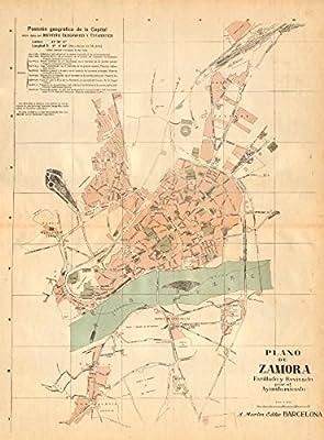 Zamora. Plano Antiguo de la cuidad. Antiguo Ciudad/ciudad Plan. Martin – C1911 – Old Antiguo Mapa Vintage – Mapas de Impreso de España: Amazon.es: Hogar