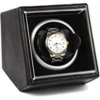 Single Watch Winder Black with 4 Rotation Mode Setting for Rolex, Fit Man Women Automatic Watch (Black-2)