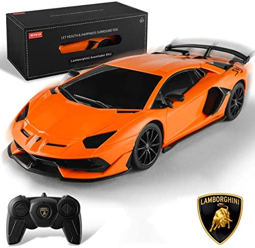 BEZGAR Toy Grade 1:24 Scale Licensed Remote Control Car, Lamborghini Aventador SVJ Electric Sport Racing Hobby Toy RC Car Model Vehicle for Boys Kids Teens and Toddler, Xmas Gifts
