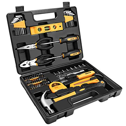 - DEKOPRO 65 Piece Tool Set General Household Hand Tool Kit with Plastic ToolBox Storage Case
