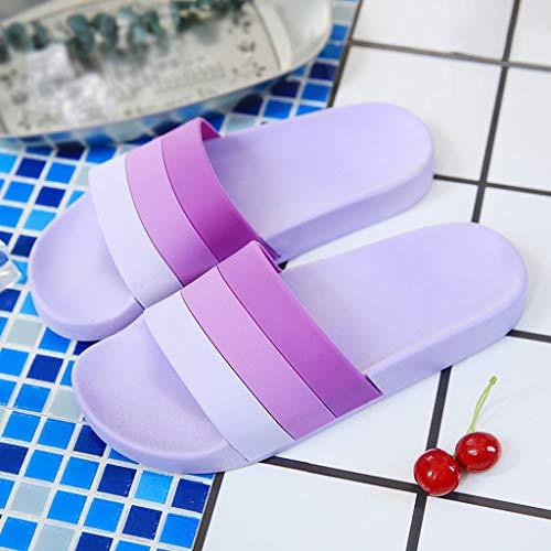 Pantoufles De Purple Taille Purple HUYP Bain pour Chaussons Femmes Porter 38 Sandales Antidérapantes Girls Summer Couleur des Personnalité Mode Salle Stripe w5T4X4qS