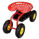 Red Rolling Garden Cart Work Seat W/ Heavy Duty Tool Tray Gardening Plan