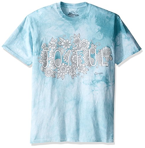 Big And Tall Word T-shirt (The Mountain Men's Big and Tall Colorwear Letters and words 7 Joyful Adult Coloring T-Shirt, Teal, 4XL)