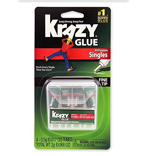 Krazy Glue Krazy Glue Single-Use Tubes w/Storage Case, 0.07 oz, 4/Pack ()