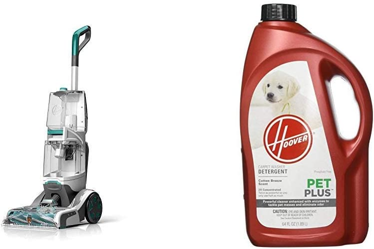Hoover Smartwash Automatic Carpet Cleaner, FH52000, Turquoise &PETPLUS Concentrated Formula, 64oz Pet Stain and Odor Remover, AH30320, Green