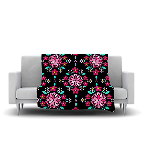 80 by 60 Kess InHouse Anneline Sophia Dahlia Mandala Pink Black Fleece Throw Blanket