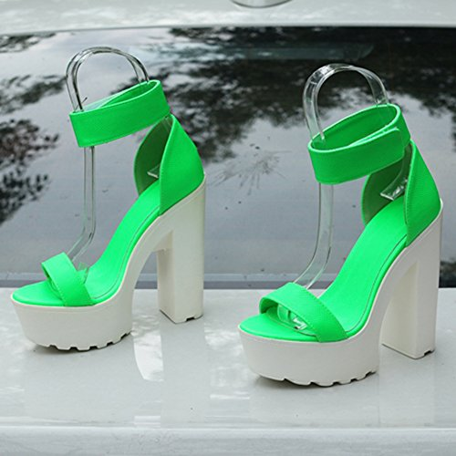 Women's Fashion Platform Lug Sole Chunky High Heel Sandals Neon Green sYtdzZJ0