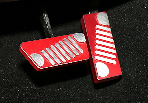Pair Car Gas Fuel Pedal Brake Pedal Pad Cover Trim For Jeep Wrangler (Grille, Red)