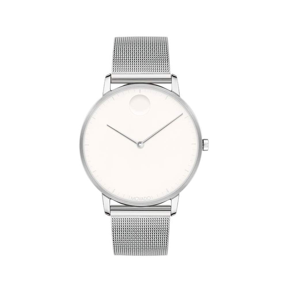 Movado FACE Stainless Steel Case, Mesh Bracelet, Optic White Dial, Men, 3640006