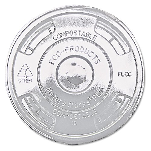 Eco-Products Compostable Flat Lid - Fits 9-24 oz. Cold Cups - Case 1000 - EP-FLCC