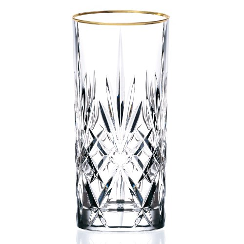 (Lorren Home Trends Siena Collection Crystal Water Beverage or Ice Tea Glass with Gold Band Design, Set of 4)