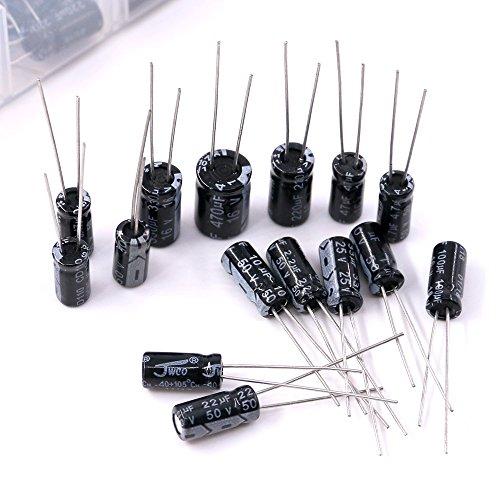Hilitchi 15 Kinds Values 300pcs 0.1uF-470uF Range Electrolytic Capacitors Assortment Kit (50V and 16V) by Hilitchi (Image #4)