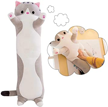 DaoRier Tira Gato Almohada Juguete de Peluche Almohada Suave Estatuilla Muñeca Super Suave y Tierno Animal Relleno Muñeca para Niños 50cm Gris: Amazon.es: Juguetes y juegos