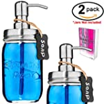 Liquid Soap Dispenser for Kitchen & Bathroom Vintage Glass Mason Jar Stainless Steel Pump Lid Chalkboard Tag Best for Lotion Essential Oils Drink Beverage Alcohol Condiment Sanitizer 2 Pack No Jars