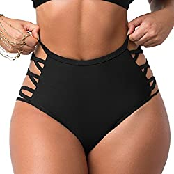 COLO Women Sexy Bikini Bottoms Lace Strappy Sides High Waisted Retro Bathing Suit Underwear Swimsuit S Black