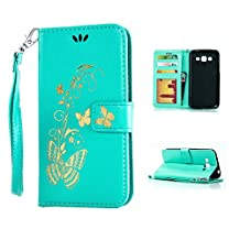 IPhone6/6S PLUS Case,Kmety Golden Butterfly Flip Folio PU Leather Kickstand Wallet Purse Case with Wristlet & Credit Card Slots Cash Holder for IPhone6/6S PLUS