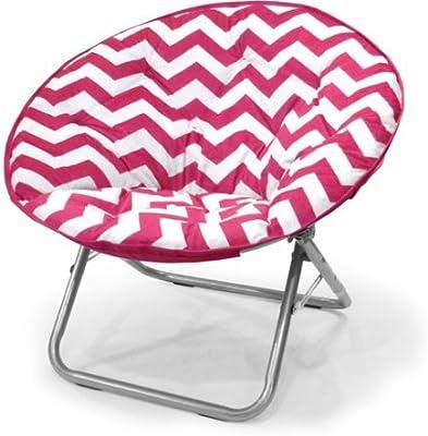 225 lbs Capacity Saucer Folding Chair Plush Chevron in Pink