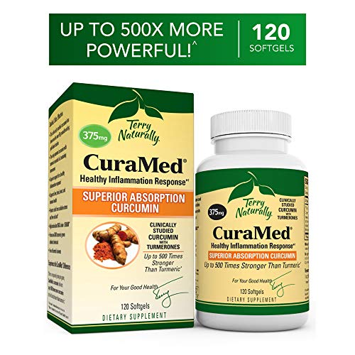 (Terry Naturally CuraMed 375 mg - 120 Softgels - Superior Absorption BCM-95 Curcumin Supplement, Promotes Healthy Inflammation Response - Non-GMO, Gluten-Free, Halal - 120 Servings)