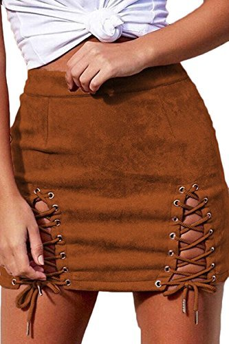 Almaree Hipster Front Lace up Criss Cross Bandage Fuax Suede Pencil Mini Skirt Khaki S
