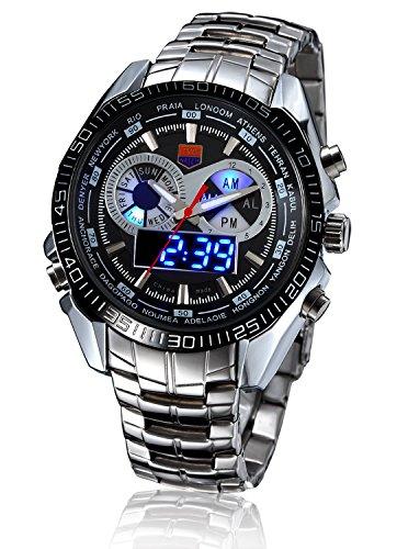 Men's Military Steel Men's Quartz Clock Dual time Digital Blue Binary LED Alarm Waterproof Sport Watch ()