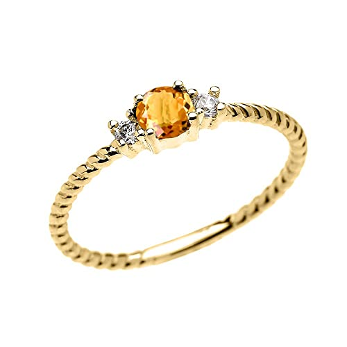 14k Yellow Gold Dainty Solitaire Citrine and White Topaz Rope Design Stackable Proposal Ring