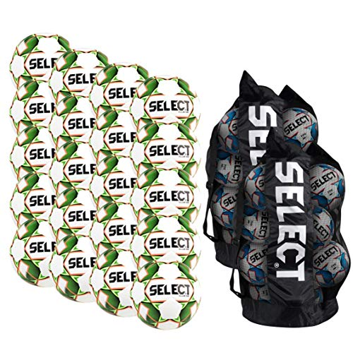 Select Club DB Soccer Ball - Team Pack of 20 with 2 Duffle Ball Bags, White/Green, Size 5 ()