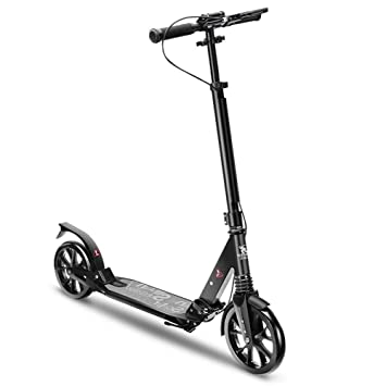 LJHBC Wheel Scooter 2-Wheel Scooter Easy to fold with handbrake Suitable for Young Adults Lightweight Aluminum Alloy Bearing 100kg Height Adjustable White//Black
