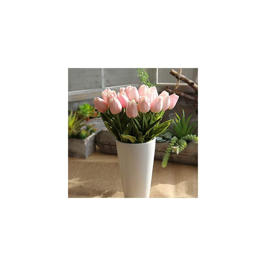 Amzali Artificial Flowers Real Touch Mini PU Tulips Bouquet Fake Tulips Flowers Arrangement Artificial Plants for Wedding Centerpiece Room Home Hotel Party Event Christmas Decor Pink Set of 30