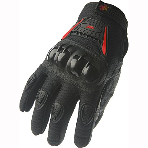 Street Bike Full Finger Motorcycle Racing Gloves 09 (Large, black/red)