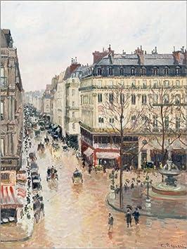Lienzo 70 x 90 cm: The Rue Saint-Honoré in The Afternoon de Camille Pissarro - Cuadro Terminado, Cuadro sobre Bastidor, lámina terminada sobre Lienzo auténtico, impresión en Lienzo