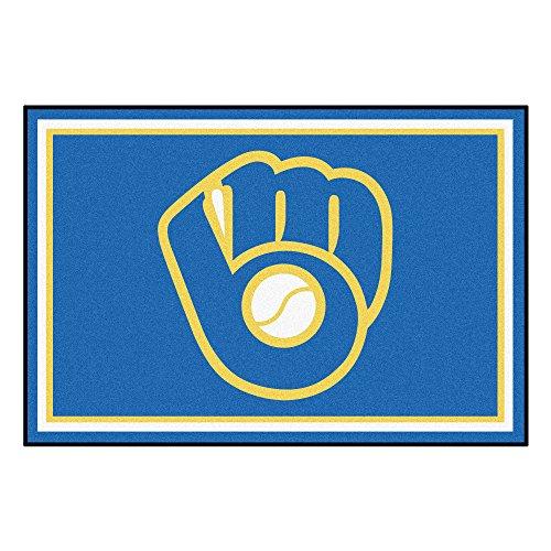 Brewers Baseball Milwaukee Rug (MLB Milwaukee Brewers 5 x 8 Foot Plush Non-Skid Area Rug)