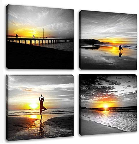 Zen Wall Art Canvas Pictures Black White Yellow Sky Large Prints Painting People Walking do Yoga on Beach Seascape Decor