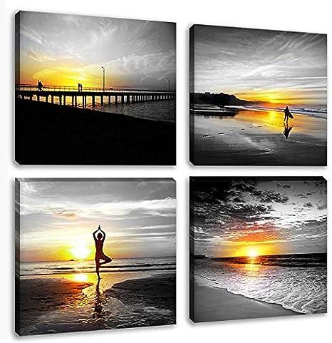 Black White Wall Art Canvas Print Seascape Beach Girl Surfboard Painting Decor